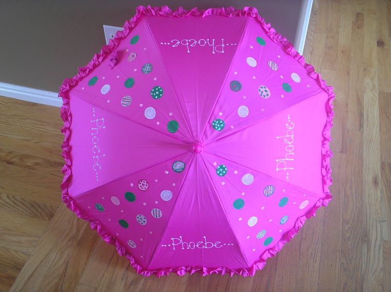 hot pink parasol with white, pink and green polka