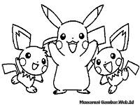 Gambar Mewarnai Pikachu Pokemon