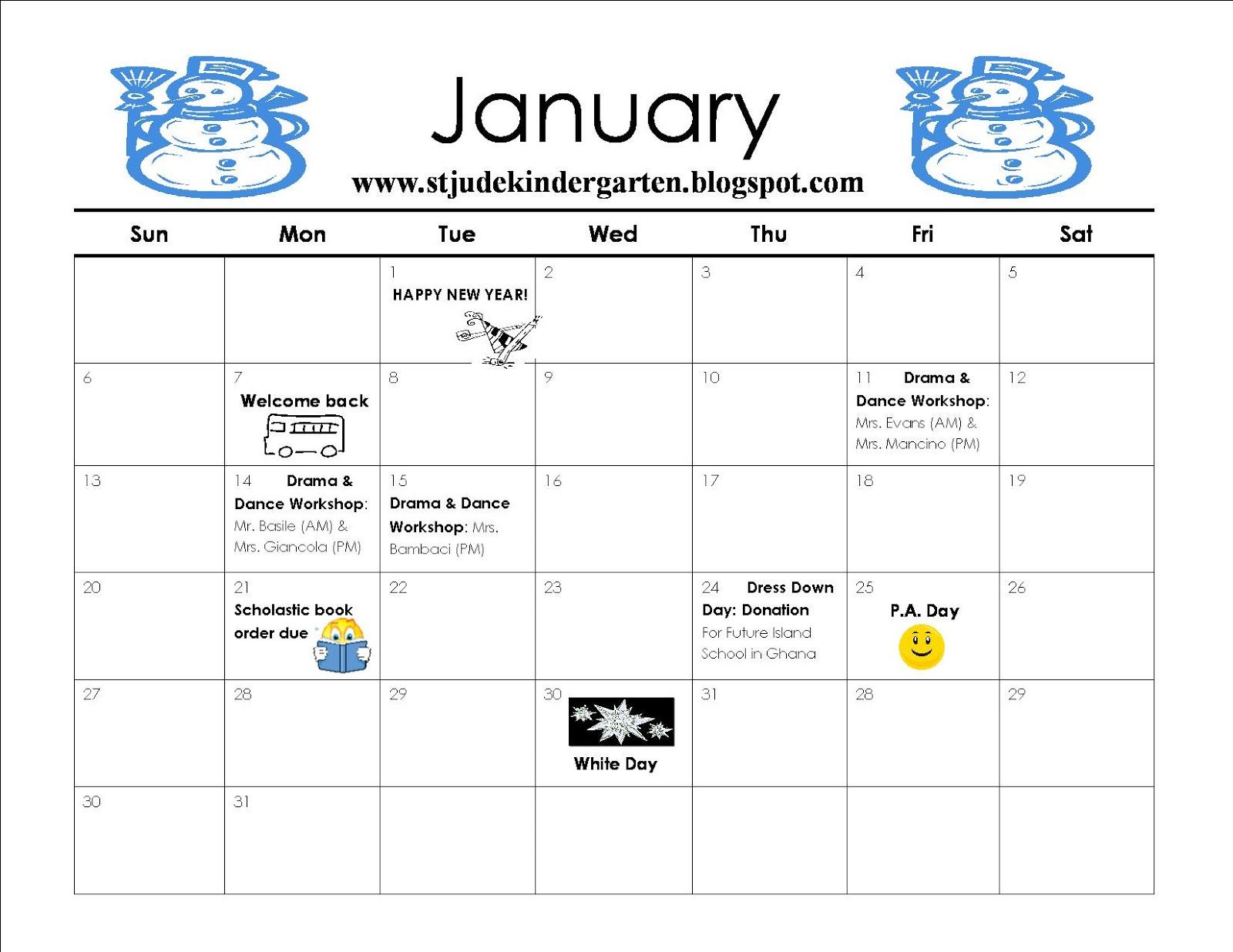 January Calendar Preschool : Kindergarten january calendar