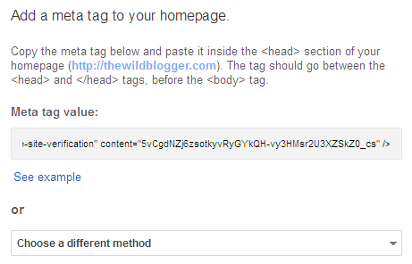 Add meta tag to your website