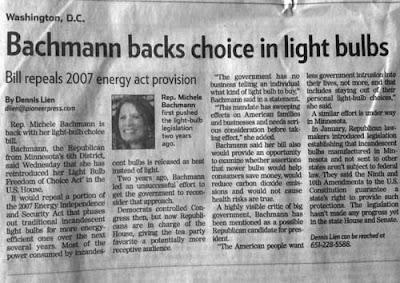Pioneer Press story: Bachmann Backs Choice in Lightbulbs