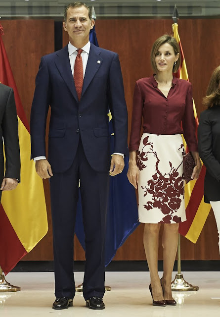 Queen Letizia of Spain and King Felipe of Spain attended an official lunch for 35th anniversary of Constitutional Tribunal