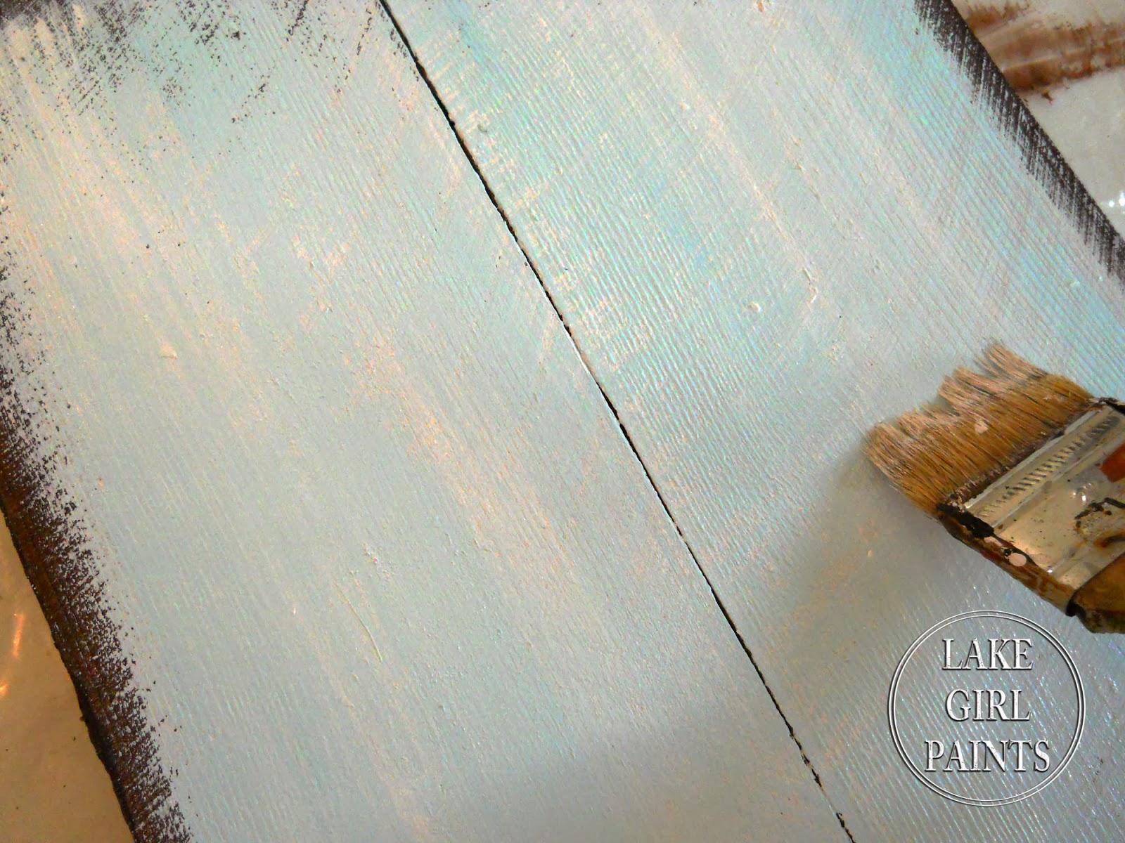 Lake girl paints rustic winter art group for Light sky blue paint