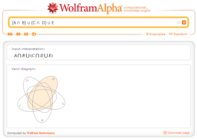 http://www.wolframalpha.com/input/?i=%28A+%E2%8B%82++B%29+%E2%8B%83+%28C+%E2%8B%82++D%29+%E2%8B%83+E