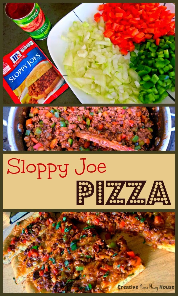 Sloppy Joe Pizza, easy weeknight dinner. The kids will love to eat this!