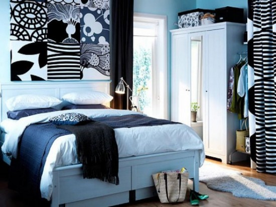 Interior designs bedrooms contemporary black and blue for Blue and black bedroom ideas