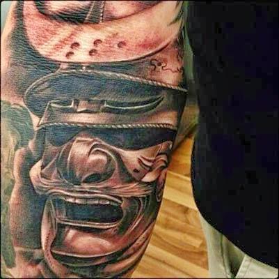 significado das tattoos samurai com máscaras