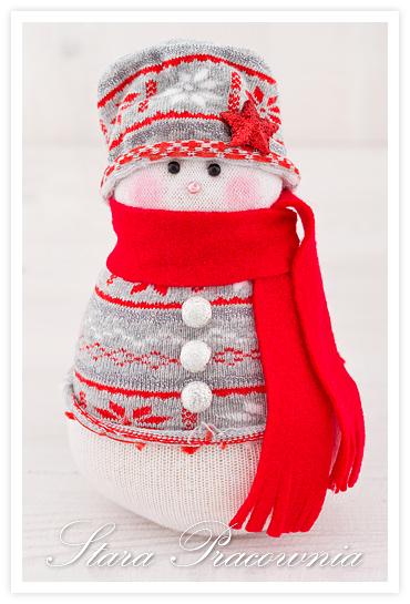 bałwanek ze skarpetki, bałwanki ze skarpet skarpetek, sock snowman