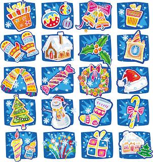 手書きのクリスマス グッズ handdrawn cartoon christmas vector イラスト素材