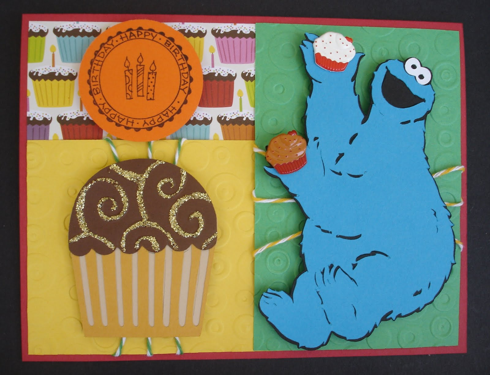 Crafted with love by karen cookie monster birthday card i figured cookie monster would enjoy cupcakes just as much as he likes cookies o thanks for looking and have a great day bookmarktalkfo Choice Image