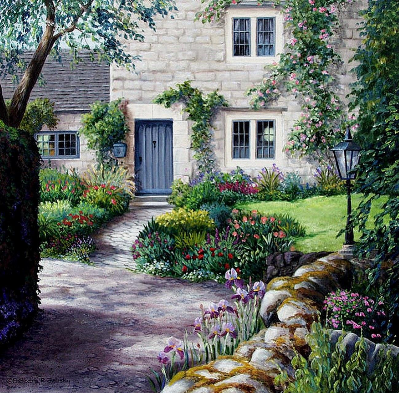 Cuadros modernos pinturas y dibujos cuadros de casas con - Casas con jardines ...