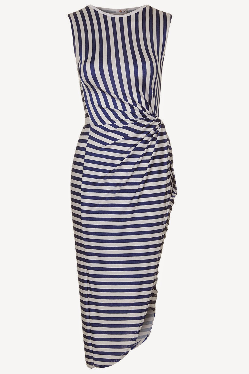 blue white striped dress