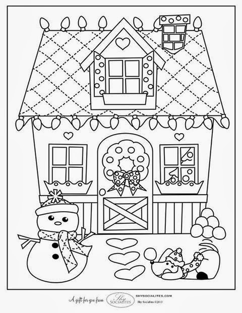 christmas village houses coloring pages - photo#12