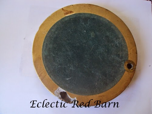 Eclectic Red Barn: Round frame with mirror that has a hole