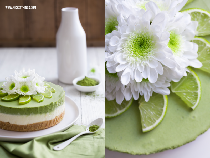 Matcha Cheesecake Grüner Kuchen Mit Matcha Tee Und Limetten