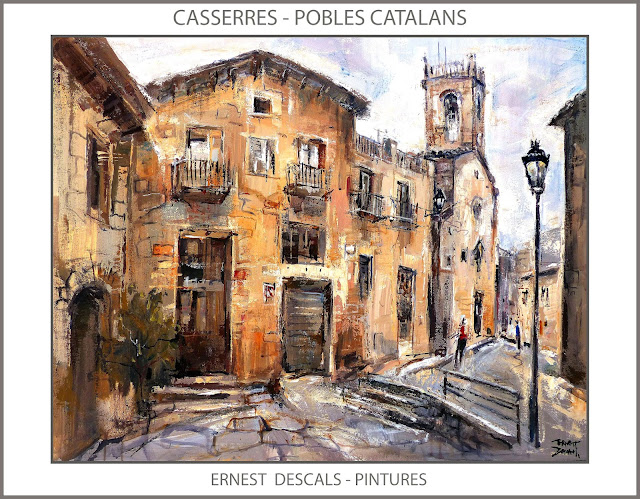 CASSERRES-PINTURA-CATALUNYA-POBLES-CATALANS-PAISATGES-PINTURES-ESGLESIA-ARTISTA-PINTOR-ERNEST DESCALS-