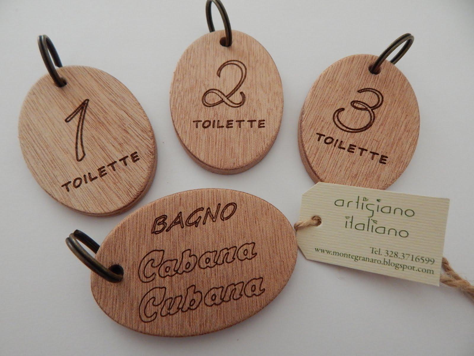 Portachiavi in legno e targhette segna porta