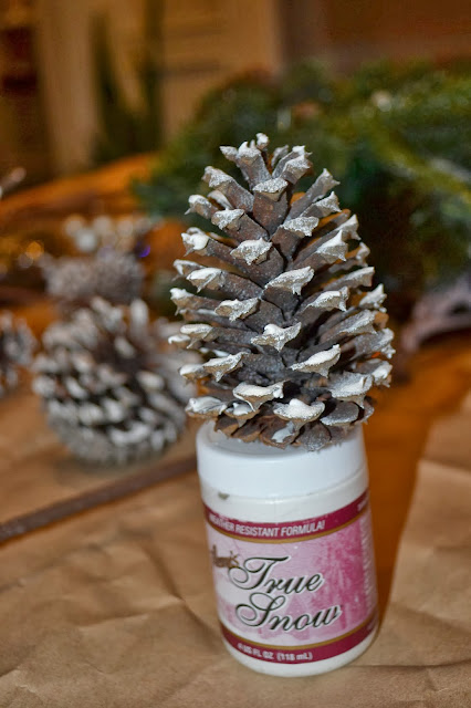 how to add faux snow to Christmas decorations
