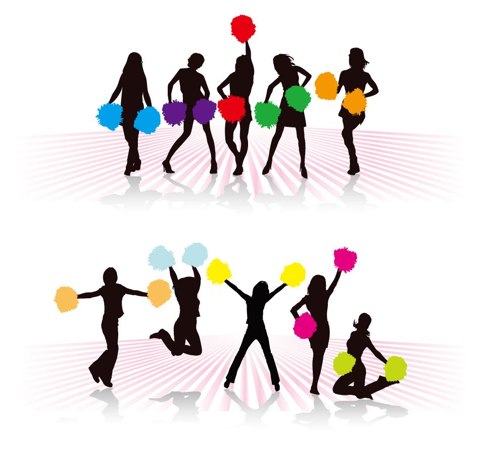 動きのあるチアリーディングのシルエット dancing girl silhouettes イラスト素材2