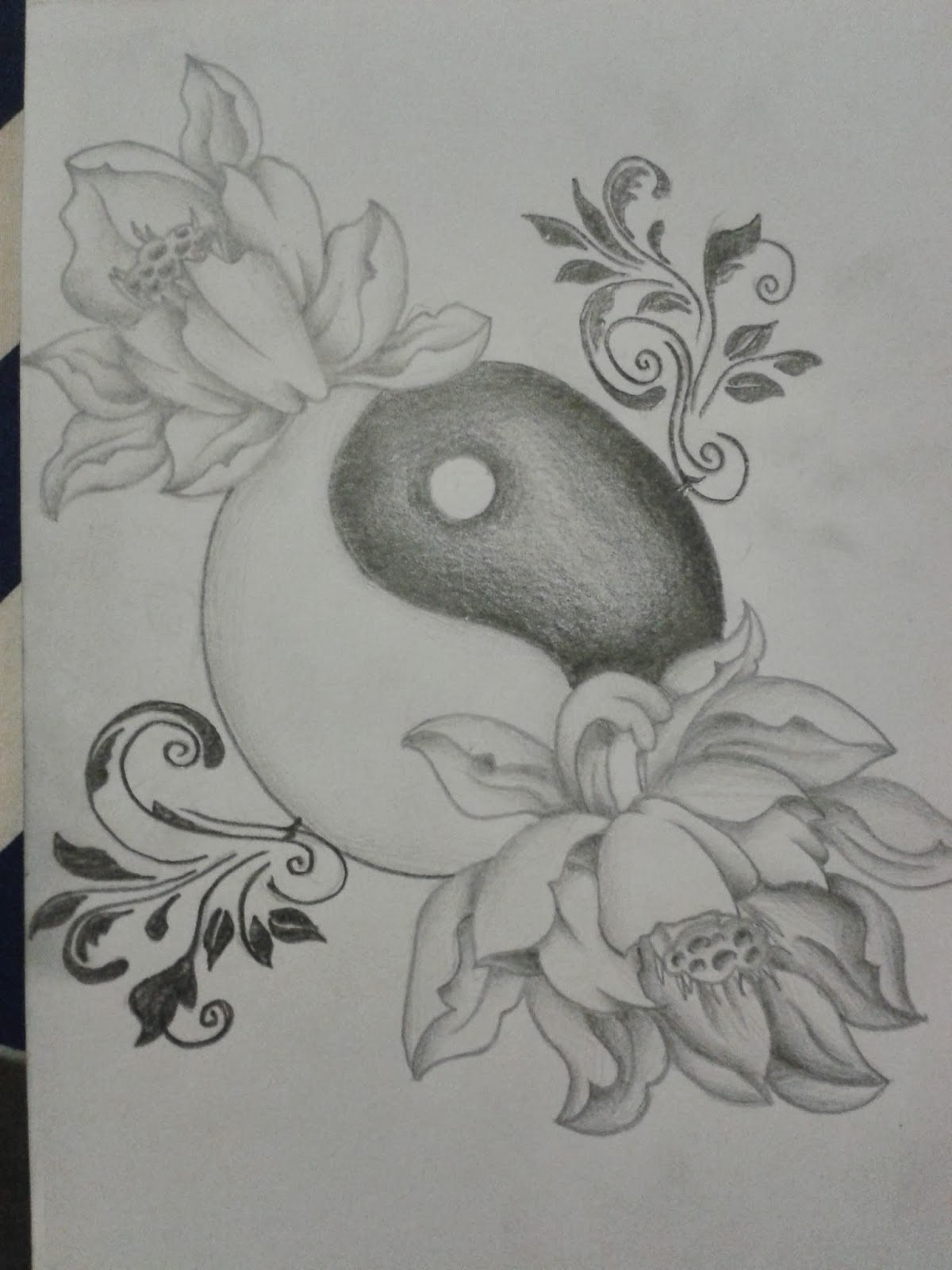 R3dwall art lotus floweryin yang tattoo design the customer wanted a lotus flower with a yin yang to represent the equality and faithfulness in her relationship izmirmasajfo