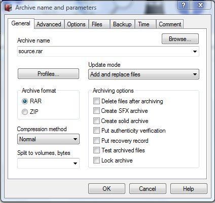 winrar archiving rar files