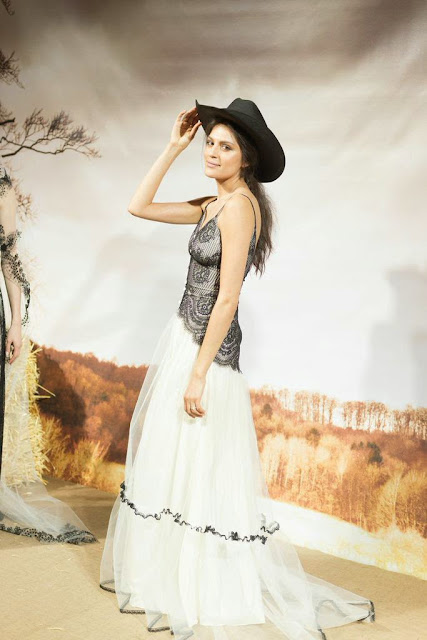 Bridal Fashion Week 2015 New York City Claire Pettibone Wedding Dress Romantic Bohemian Weddings Cowgirl Hat Black Lace