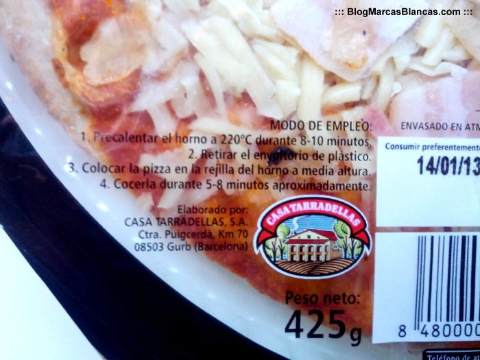 Pizza fresca rústica Hacendado de Mercadona fabricada por Casa Tarradellas.