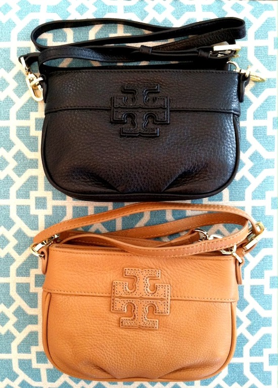 Tory Burch Amanda Crossbody Bag Stacked Logo Tan Black