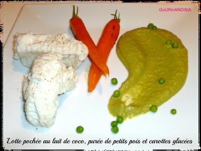 Image Lotte pochée au lait de coco, purée de petits pois et carottes glacées