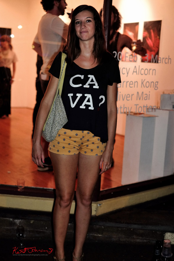 Yellow shorts and black Ca Va? tee shirt, Gallery 8. To The Outside In 2013.