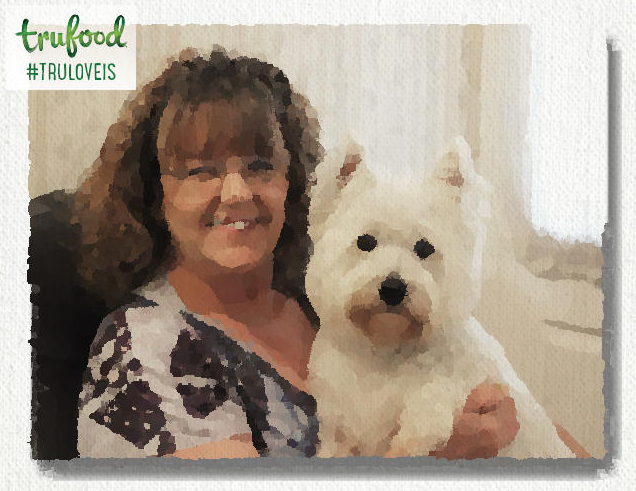 watercolor photo of Westie and woman