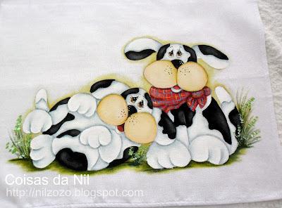 """""""pintura em tecido cachorros"""""""