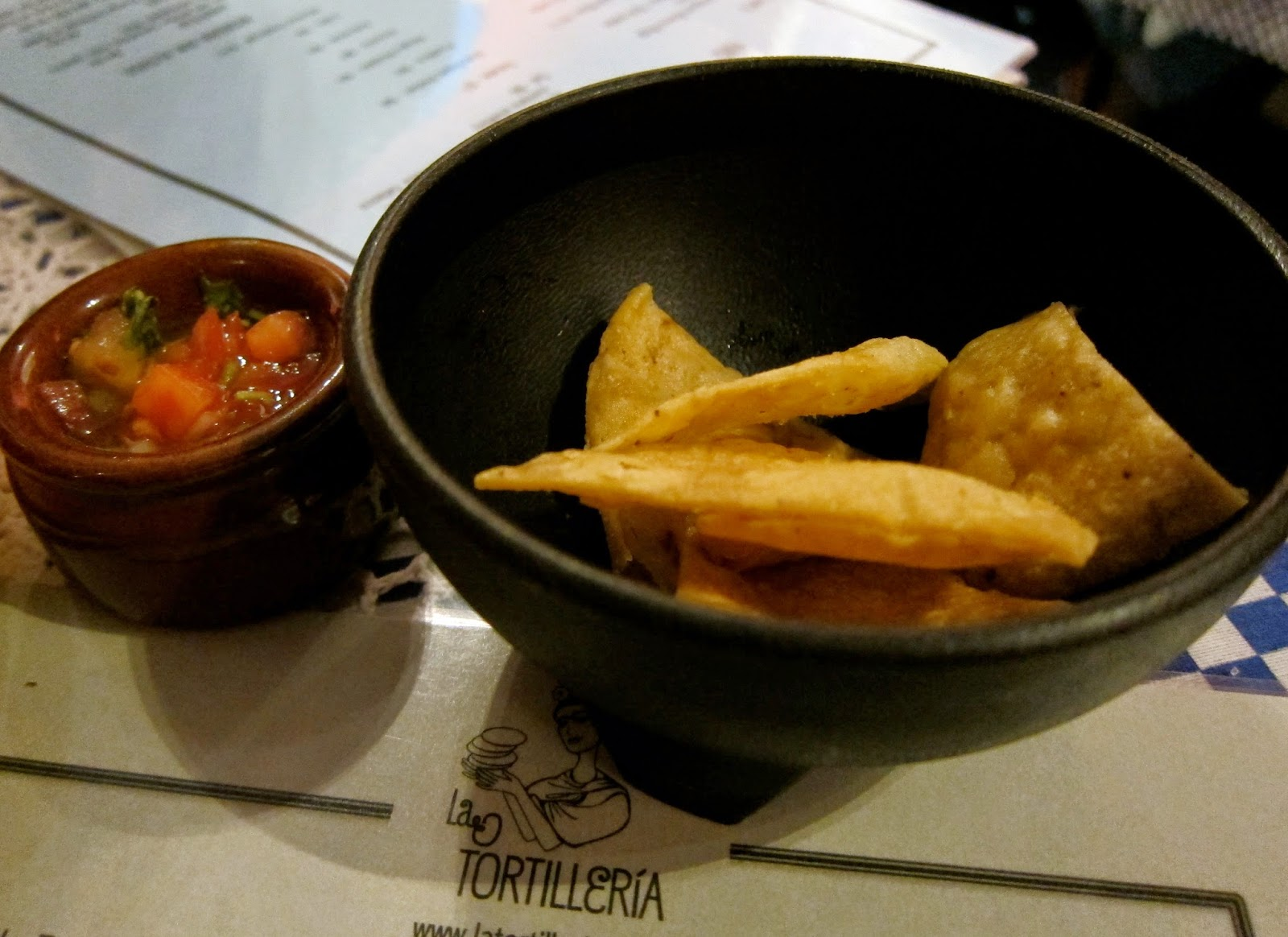 homemade corn chips and salsa
