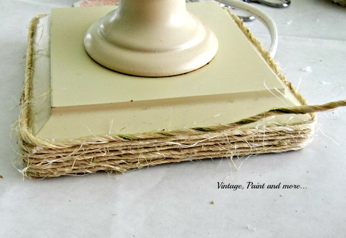 Vintage, Paint and more... wrapping a lamp with twine, twine craft, DIY lamp