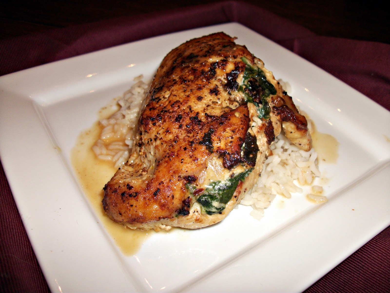 Spinach & Goat Cheese Stuffed Chicken Breasts with Pan Sauce