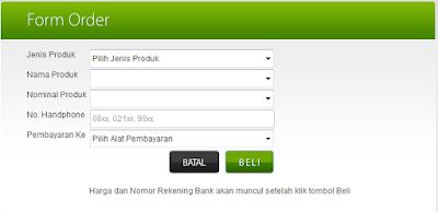 contoh form saat beli pulsa online