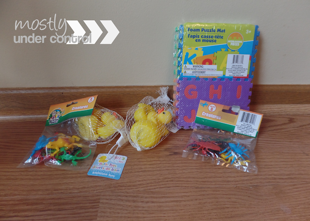 Sensory bin supplies from the dollar store