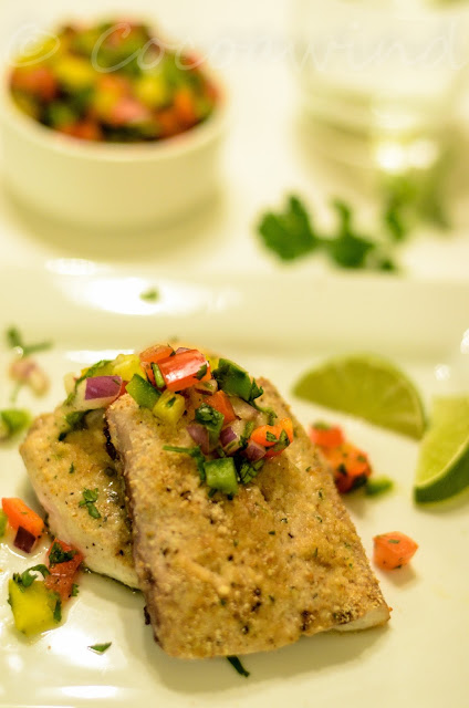 Oven baked Mahi Mahi with Bell Pepper Salad