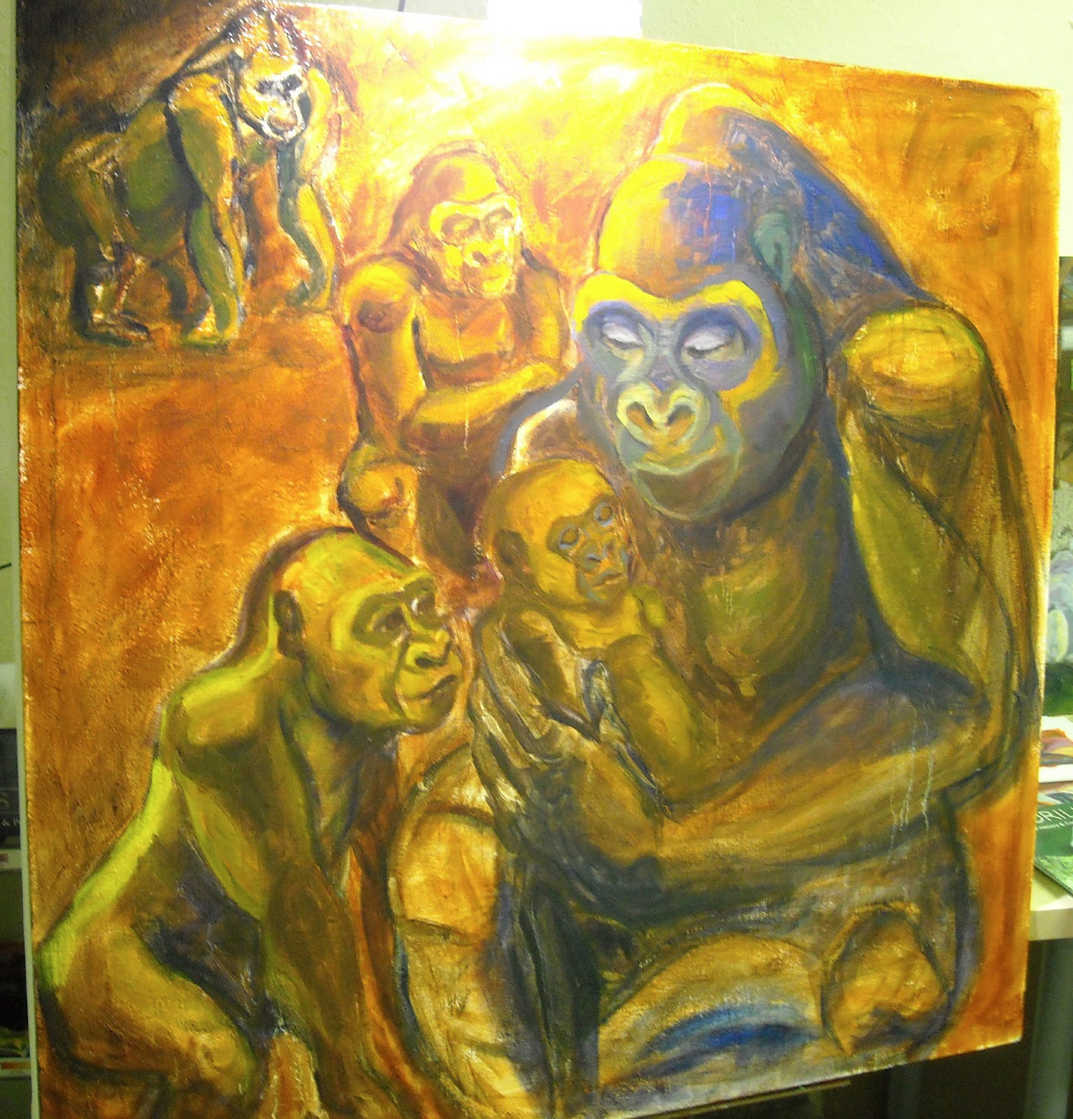 Family gorilla painting part 1 the art of emily thomson for The art of painting