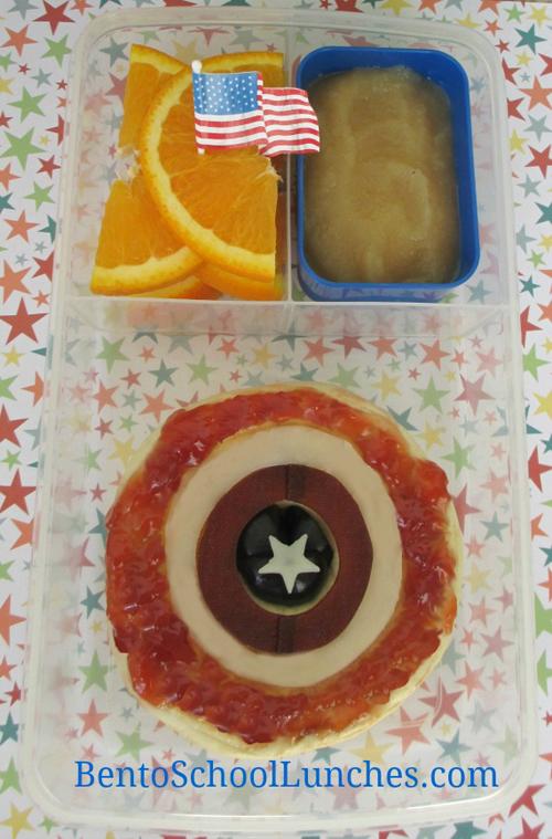 Avenger Captain America shield fun lunch, Bento School Lunches