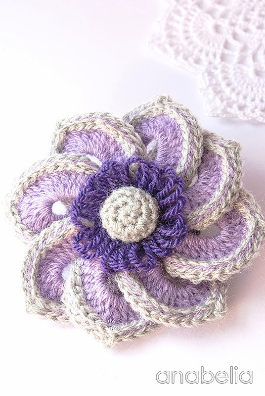 Violet crochet brooch by Anabelia