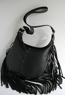handmade leather fringed bag