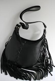 handmade leather fringed bag