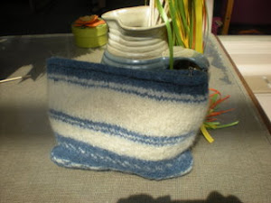 Blue and white Basic Bags felted clutch