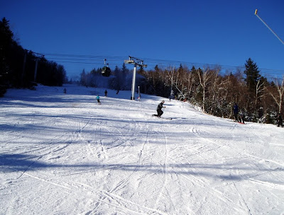 Tele skier on Sunway, late afternoon Sunday, December 11, Gore Mountain.   The Saratoga Skier and Hiker, first-hand accounts of adventures in the Adirondacks and beyond, and Gore Mountain ski blog.