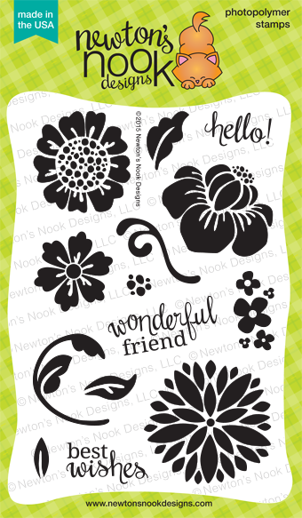 Fanciful Florals | 4x6 Photopolymer Bold Flower Stamp Set | Newton's Nook Designs