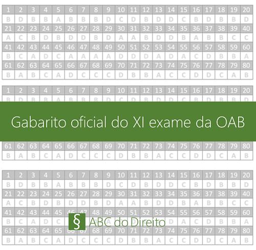 Gabarito oficial do XI exame da OAB