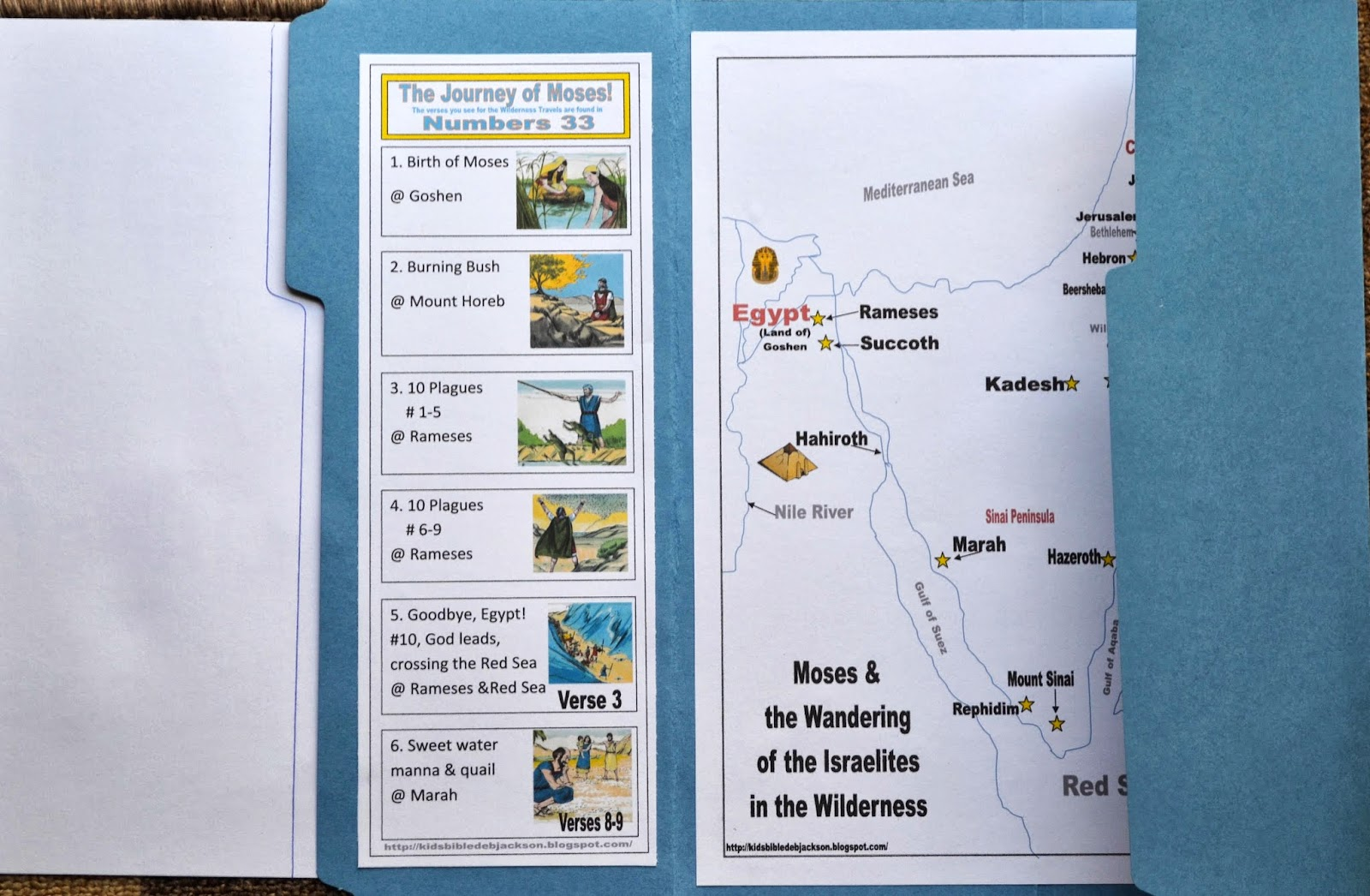 Bible Fun For Kids: Life of Moses: Map It! File Folder