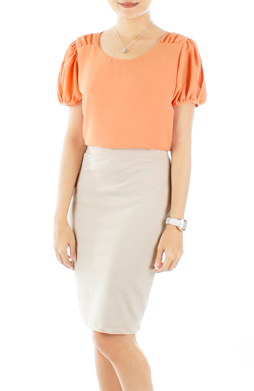 Primrose Gathered Pleat Blouse with Sleeves