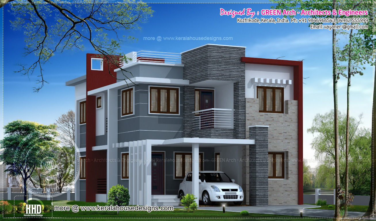 10 different house elevation exterior designs kerala for House elevation